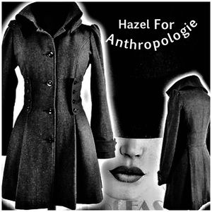 Hazel For Anthropologie Corset Fit Flare Wool Coat